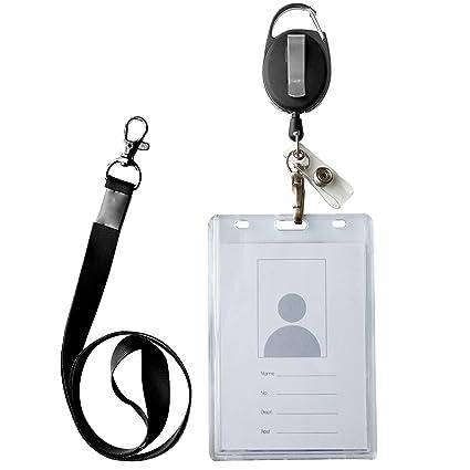582e023b607b Amazon.com : ID Card Case + Lanyard + Badge Holder Retractable Reel ...