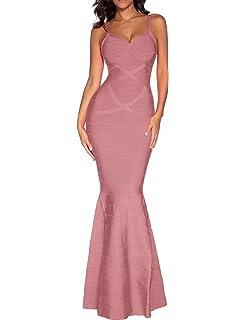 b8a86206be Women s Bandage Maxi Dress V-Neck Backless Fishtail Long Evening Formal