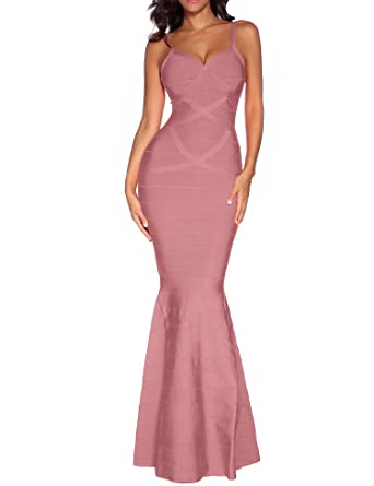 ea00b10139 houstil Women s Rayon Bandage V Neck Backless Fishtail Long Formal Evening  Dress Party (XS