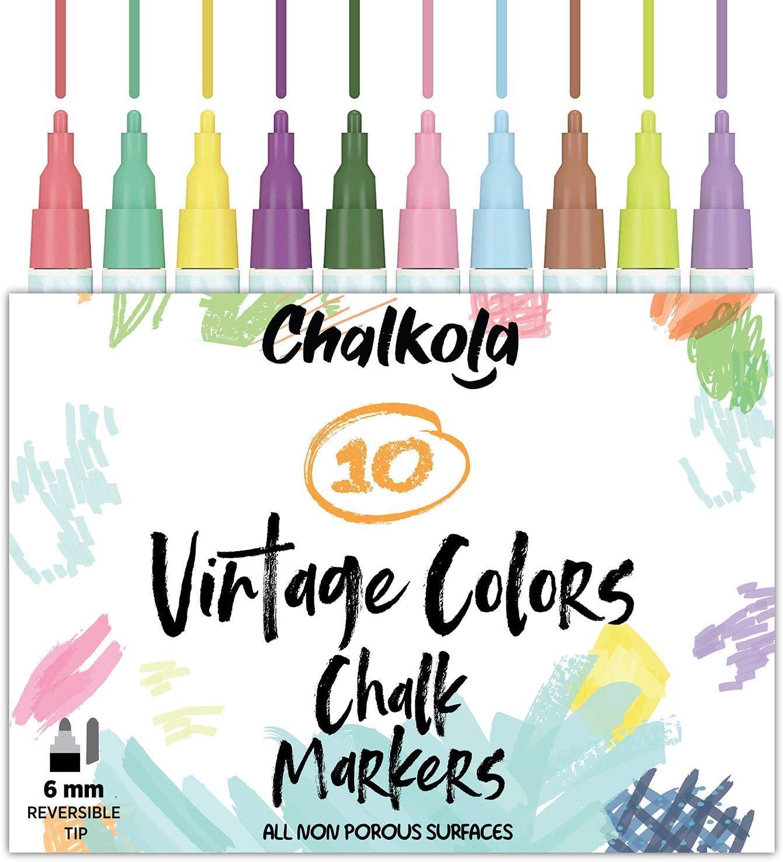 Marcadores de tiza líquida para pizarras (10 colores vintage) | Seguro para niños, no tóxico, sin polvo y borrable | Revés reversible de 6 mm y punta de cincel