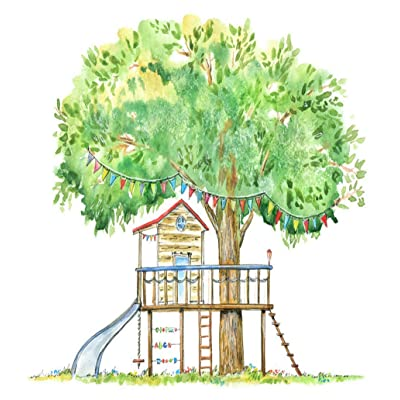 5D Diy Diamond Painting Kits Baby Tree House Swing Slide Playhouse Summer White Forest Kids Wood Full Drill Painting Arts Craft Canvas For Home Wall Decor Full Drill Cross Stitch Gift 16X20 Inch: Toys & Games