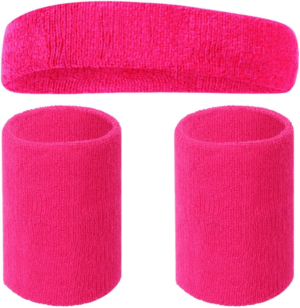 Basketball 4 Sport Wristbands with 7 Headband in Neon Colors 1 Pair Running Happywendy Colorful Cotton Sweatband Set Wrist Head Sweat Band for Tennis Gym Working Out