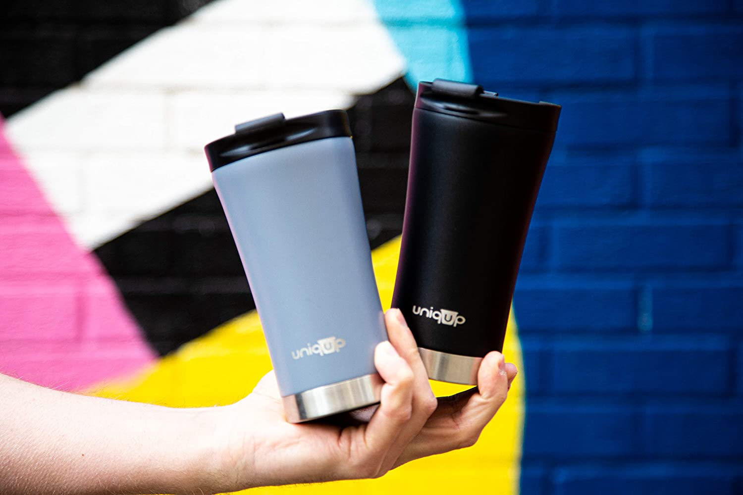 Tea or Coffee Flask for Hot Drinks Black, 340ml Premium Insulated Reusable Coffee Cup Uniqup Leak Proof Travel Mug