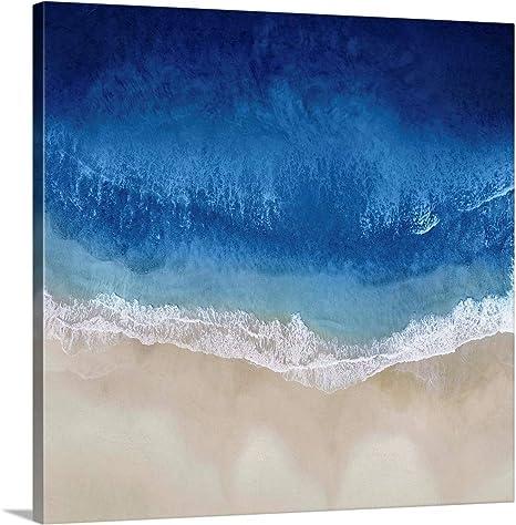 Amazon Com Indigo Ocean Waves Ii Canvas Wall Art Print 30 X30 X1 25 Posters Prints