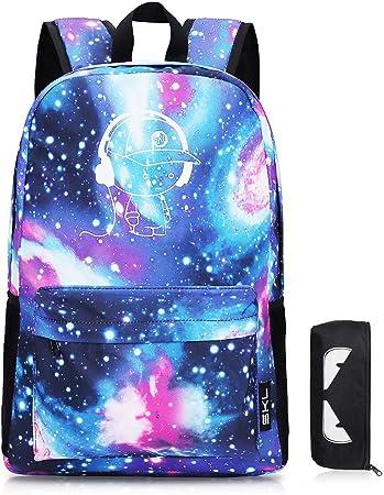 Imagen deSKL Mochila escolar Galaxy, Mochila de lona unisex fresca Mochila luminosa de anime Mochila escolar Mochila escolar de hombro Bolso para computadora portátil (Azul)