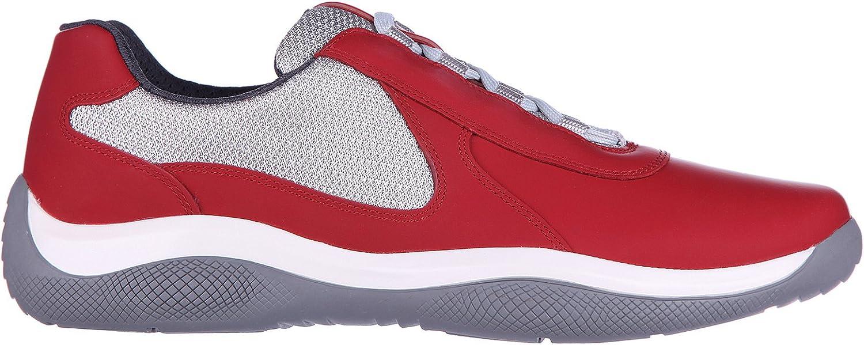 Prada Zapatos Zapatillas de Deporte Hombres en Piel Nevada Rojo ...
