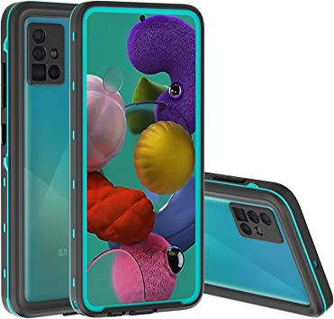 FHZXHY Coque étanche Galaxy A51 4g 6,5 pouces avec film de protection d'écran intégré étanche transparent et fin pour Samsung Galaxy A51 4g Bleu