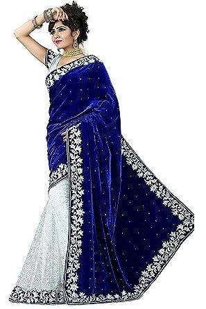 a3df635651 Gauri Laxmi Enterprise Women's Cotton Art Silk Sarees (GLE TS-2, Blue Velvet