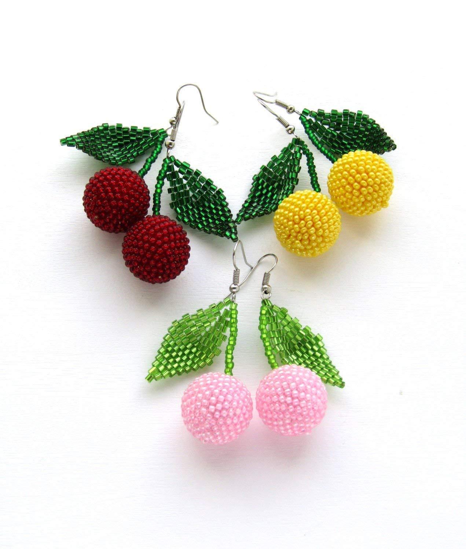 Cherry seed bead earrings