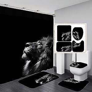 "Fashion_Man 4PCS/Set Lion Shower Curtain Polyester Waterproof Bath Curtains Set Majestic Forest King Wildlife Bath Mat Set Bathroom Rugs Toilet Lid Cover Bathroom Decor 72""x72""+12 Hooks, Style 3"