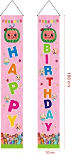 Cocomelon Happy Birthday Theme Porch Signs Cocomelon Birthday Hanging Wall Door Banner for Newborn Kids Decorations Cocomelon Polyester Wrinkle Free Outdoor Indoor Home Decor Front Yard Party Supplie