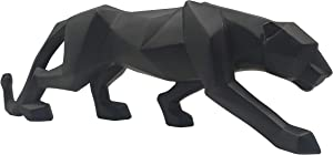 LOOYAR Geometric Resin Leopard Statue Sculpture Ornament Collectible Figurine Craft Furnishing for Home Décor House Living Room Decoration Office Desk Table Wine Cabinet Arrangement Gift, Black