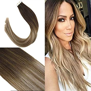 Youngsee 20pcs50g Tape Extensions Echthaar 55 Cm Balayage