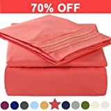Microfiber Queen Size Bed Sheet Set - Made Of 100% Brushed Microfiber Polyester 1800 Series - Extra Deep Pocket - Stain Resistant, Warm, Breathable And Hypoallergenic - 4 Piece (Coral) - TEKAMON