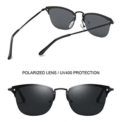 6b1f1449ce ... Joopin-Men Retro Brand Polarized Sunglasses Women Vintage Round  Sunglasses (Black Rimless Pro