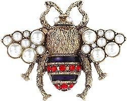 Chidoo Women Rhinestone Honey Bee Brooch Pin