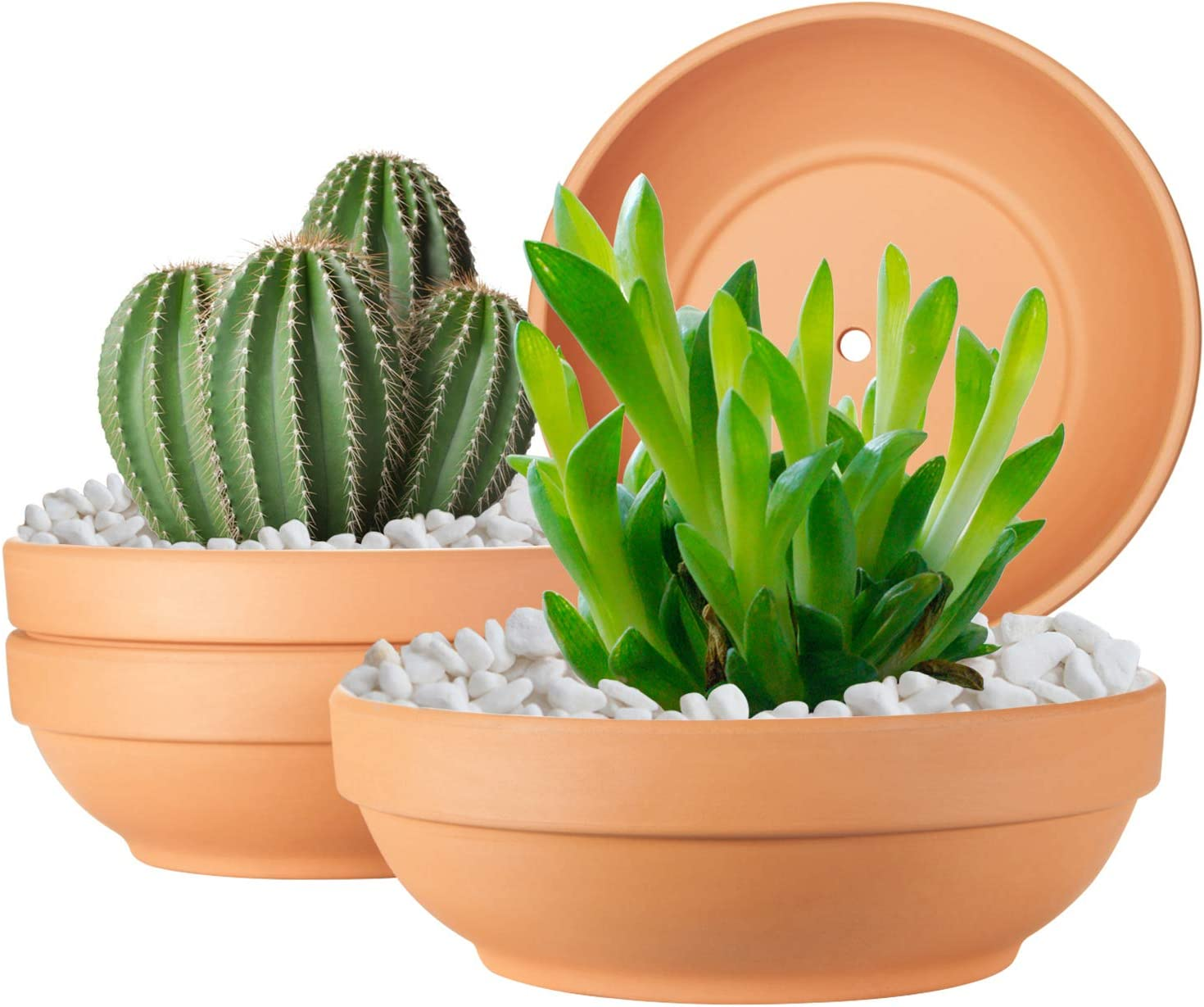 Clay Pots for Plants with Drainage Hole, 4 Pack Large Terra Cotta Plant Pot, 7.67 Inch Terra Cotta Pot Ceramic Pottery Planter Cactus Flower Pots Succulent Pot