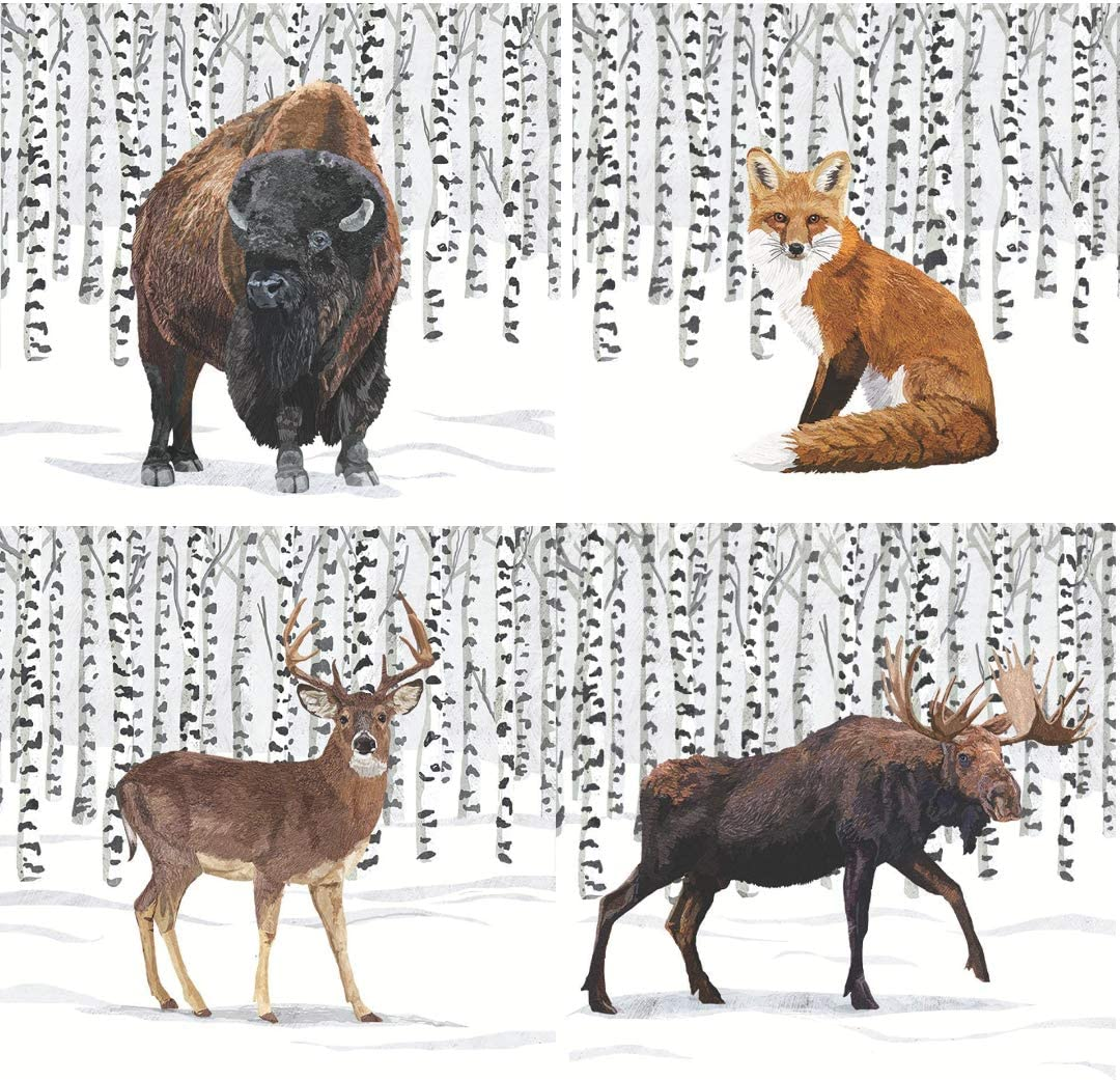 Winter Solstice Wilderness Themed Cocktail Beverage Napkins Variety Pack | Bundle Includes 80 Total Paper Napkins | 4 Different Wilderness Animal Designs: Moose Stag Buffalo Fox