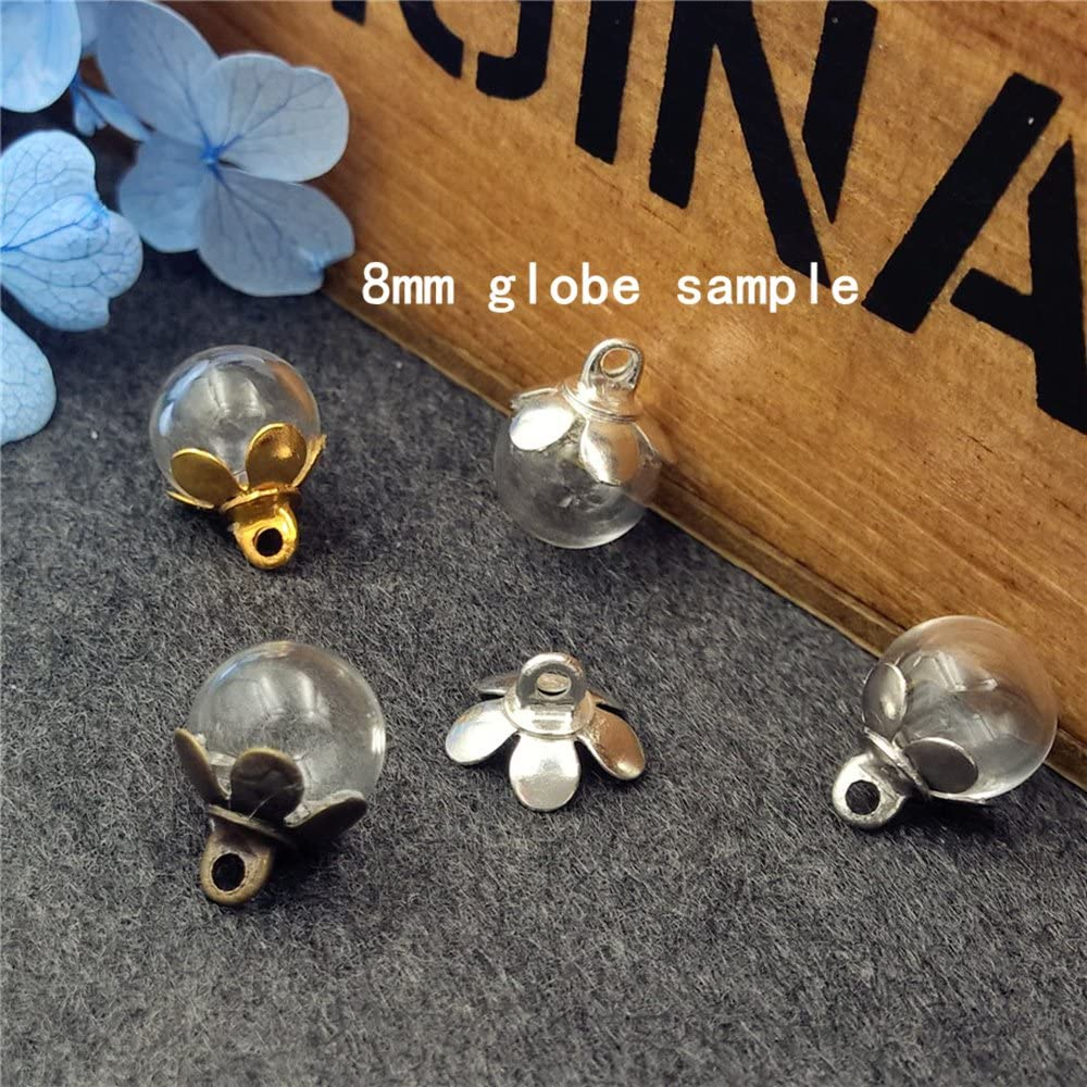 8mm Ball, Bronze Cap 10set Mini Empty Clear Glass Ball Bottle with Five Petal Cap Glass Dome Cover Glass Vial Pendant