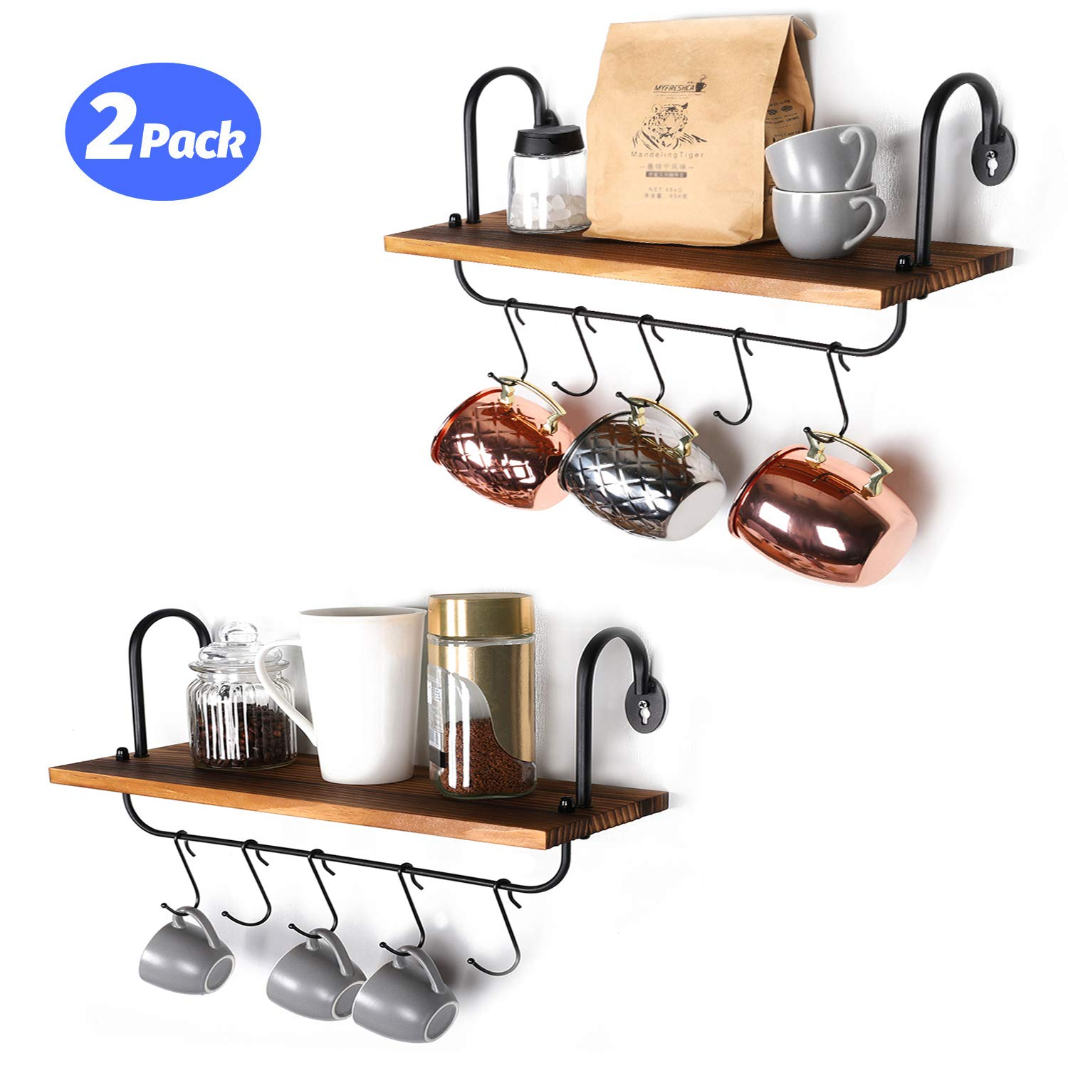 Olakee Wall Shelves with 10 Adjustable Hooks for Mugs Cooking Utensils or Towel at Kitchen Bathroom Coffee Nook Set of 2