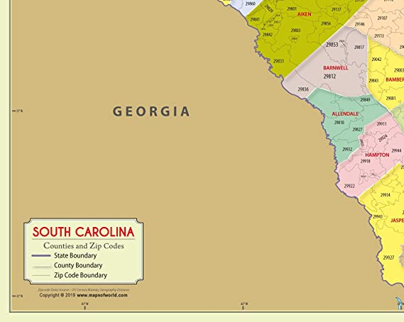 Amazon.com : South Carolina Zip Code Map with Counties (48