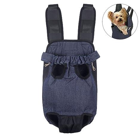 FONLAM Bolso Frontal Perro Gato Mochila Transportin Portátil Cachorro Mascota con Hombreras Tirantes Ajustables Entrepiernas de