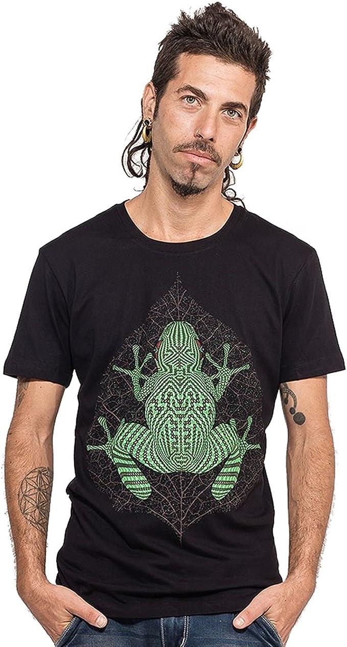 Street Habit Camiseta psicodélica con Sapo KAMBO Rana Estampado de neón hipnótico y gráfico de Trance