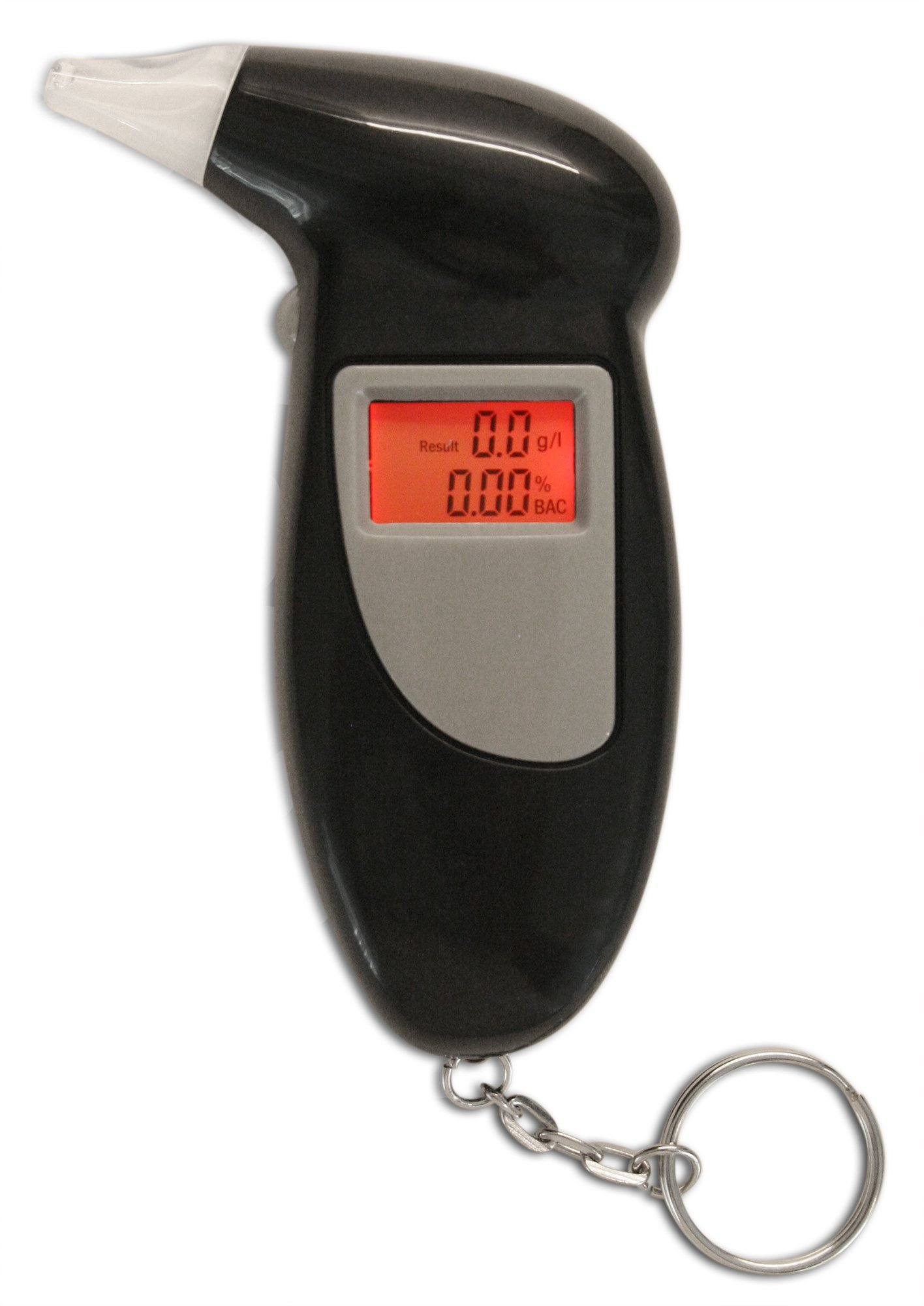 Professional Breathalyzer Keychain by Emerywood: Alcohol Tester Red Backlit Breath Analyzer Portable High-Precision Breathalyzer with LCD Display and Replacement Mouthpieces by Emerywood (Image #2)