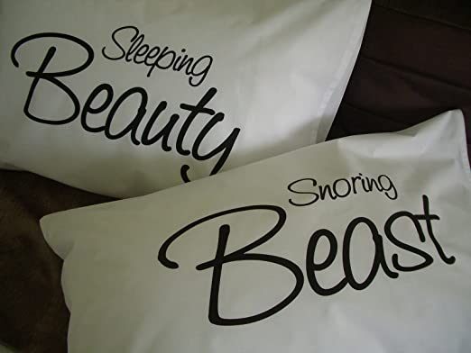 Printed Pillowcases Unique Gifts Sleeping Beauty Snoring Beast Cushion Pillow