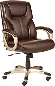 AmazonBasics High-Back, Leather Executive, Swivel, Adjustable Office Desk Chair with Casters, Brown