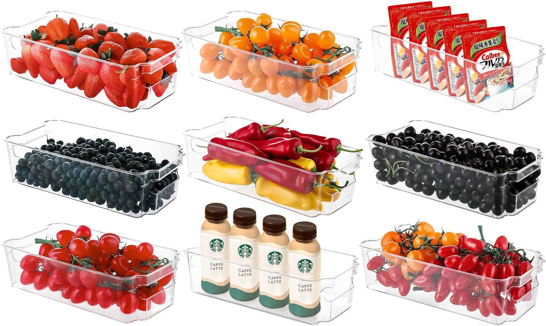 Refrigerator Organizer Bins, HERKKA 9 Pack Clear Plastic Food Storage Bin with Handle for Freezer, Cabinet, Fridge, Kitchen Pantry Organization and Storage, BPA Free, 12.5