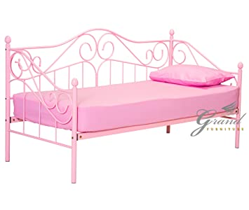 Joseph Pink Girls Metal Day Bed With Trundle Victorian Style 3ft