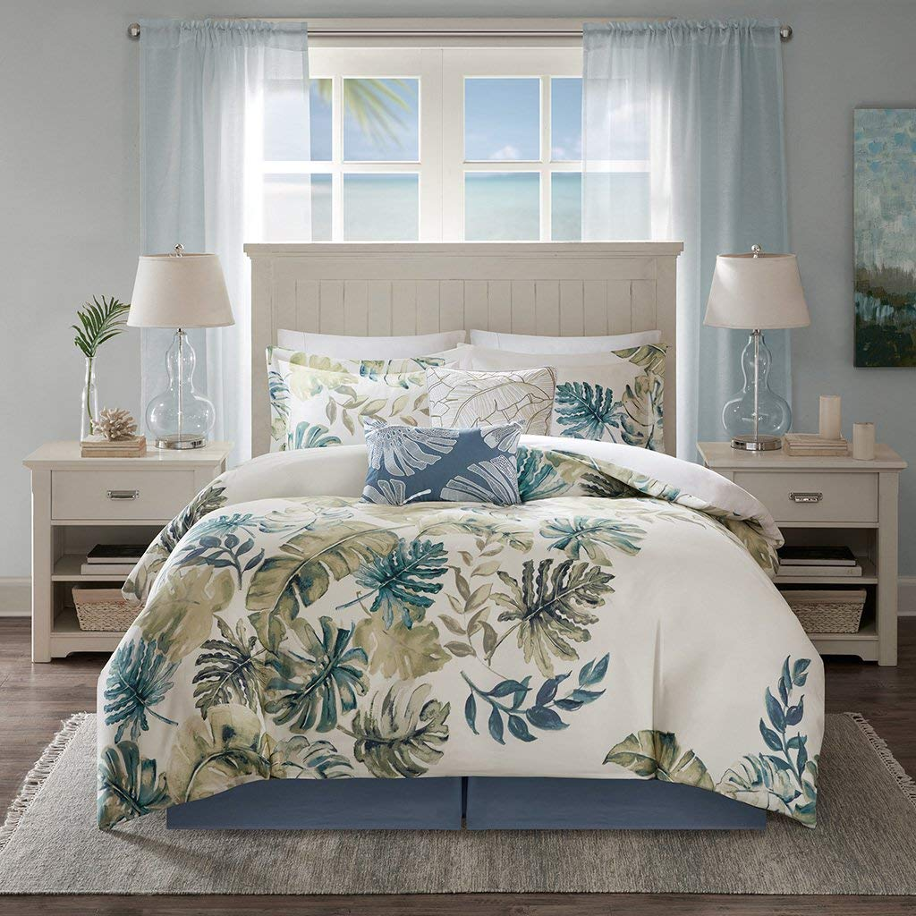 Harbor House Lorelai Cal King Size Bed Comforter Set - White, Green, Blue, Tropical Plants, Leaf