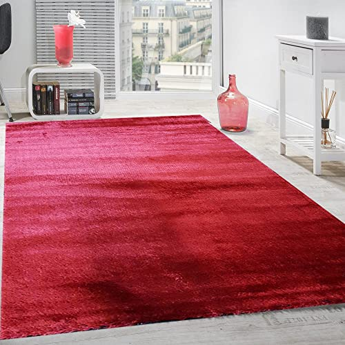 Shag Area Rug Soft Thick 3D Textured Plush Rugs for Living Room, Bedroom, Office, Family Room, Dining Room Shaggy Area Rug 8 x 10 Solid Red