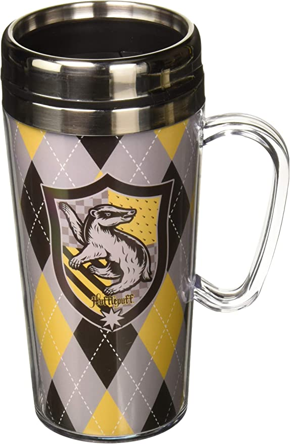 Harry Potter Hufflepuff Yellow Glitter 20 oz Acrylic Double Walled Tumbler Cup