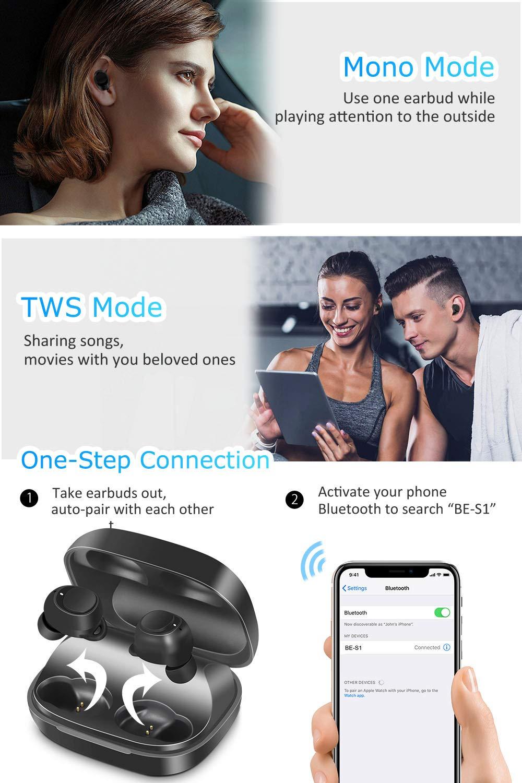 Wireless Earbuds, BassPal IPX7 Waterproof Bluetooth 5.0 Headphones, 60H Playtime, Deep Bass Stereo Sound Sports in-Ear Earphones Headset w/Mic, TouchControl, AAC CVC 8.0, 2200mAh Rechargeable Case