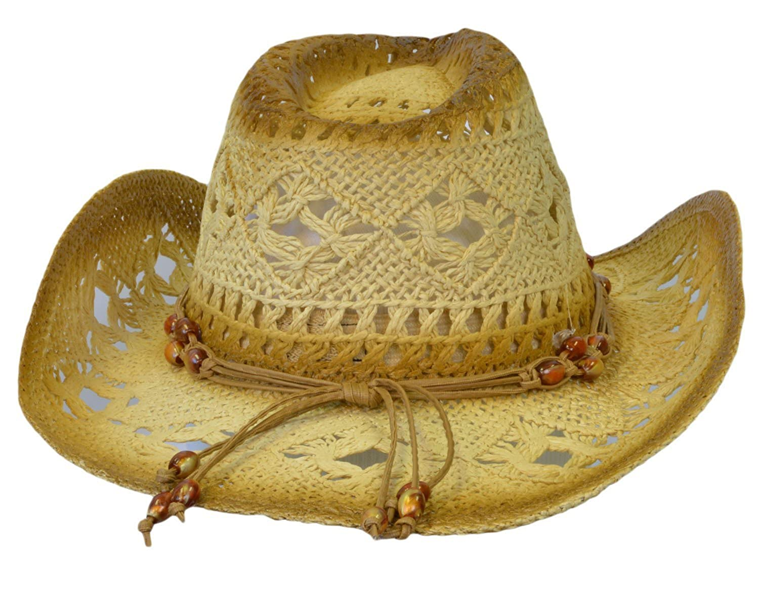 d362e7ca8c40e Terra Unisex Two Tone Woven Straw Cowboy Ranch Hat with Beaded Band KC Caps  TERRA-