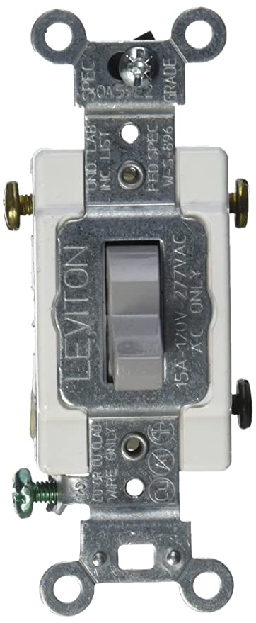Leviton CS315-2GY 15-Amp, 120/277-Volt, Toggle 3-Way AC Quiet Switch ...