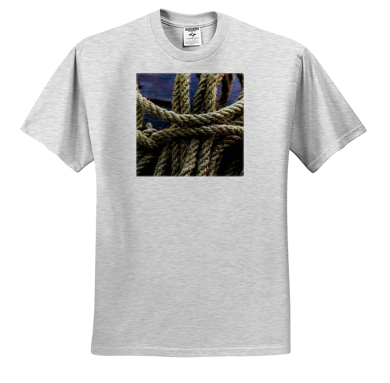 3dRose Alexis Photography Image of a Turn of a Manila Rope Hemp Root Wood T-Shirts Objects Rope