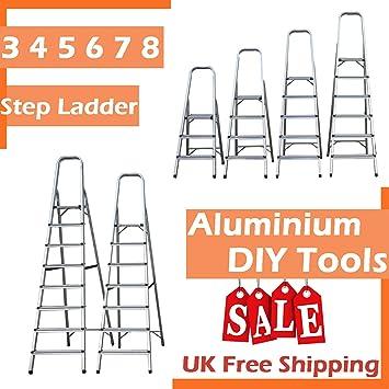 Escalera de aluminio plegable de 150 kg de capacidad, antideslizante, estable, ligera, portátil, para el hogar, jardín, trabajos en interiores: Amazon.es: Bricolaje y herramientas