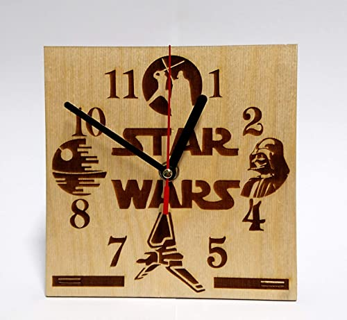 STAR WARS Wooden Desk Clock 6.7 inches 17cm made from Wood Best Decor for Your Kids Bedroom Darth Vader Luke Skywalker Table CLock