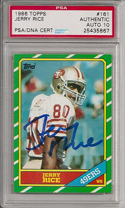 1986 Topps 161 Jerry Rice Signed Rookie Card Psa Dna 10 Autograph W