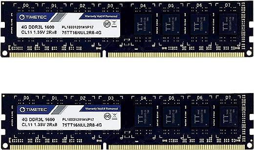 مجموعة Timetec Hynix IC 8GB (2x4GB) DDR3L 1600MHz PC3L-12800 Non-ECC Unbuffered 1.35V/1.5V CL11 2Rx8 Dual Rank 240 Pin UDIMM وحدة ذاكرة الكمبيوتر المكتبي ذاكرة الرام (منخفضة الكثافة 8GB Kit (2x4GB))