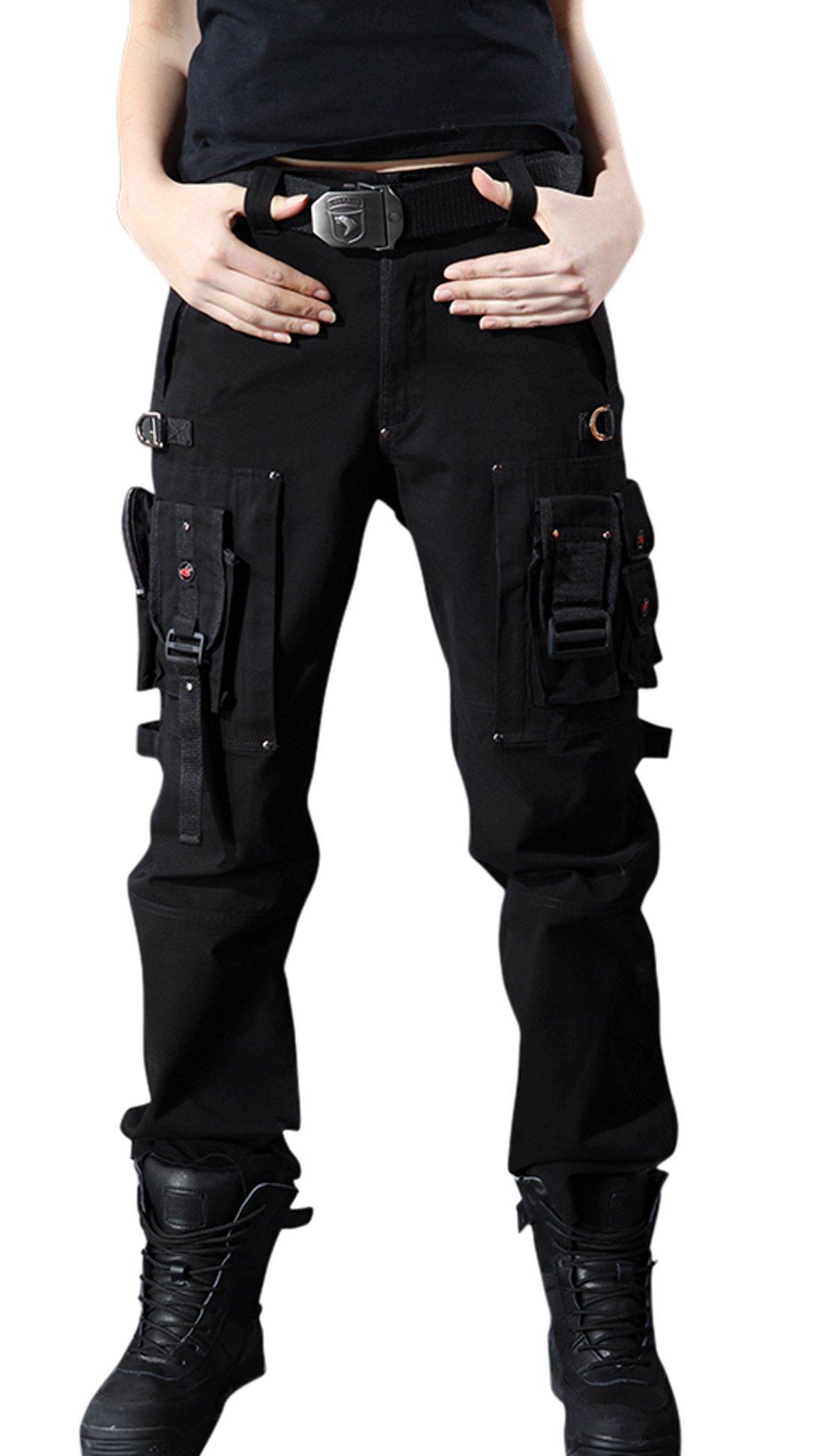 Chouyatou Women's Stylish Military Multi-Pockets Wild Cargo Pants (Small, Black)