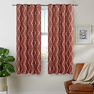 Linen Textured Curtains for Living Room Moroccan Tile Curtains for Bedroom Grommet Top Drapery Set Dark on Flax Room Darkening Window Treatment Set 2 Panels 2 Panels 45 inches Coral