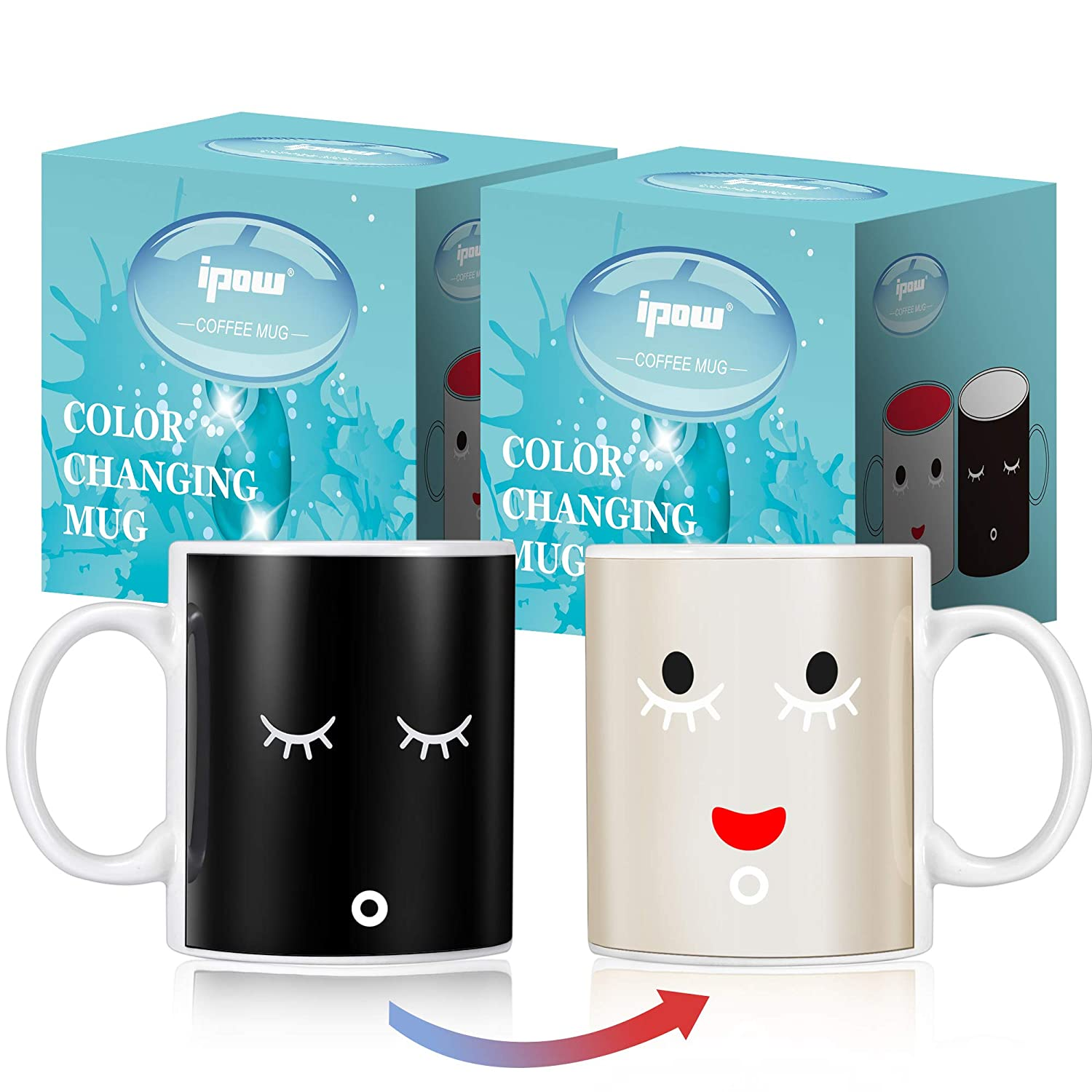 Ipow 2 Pack Neat Magic Morning Mug Coffee Tea Milk Hot Cold Heat Sensitive Color-changing Mug Cup - Great Gift for Any Holiday