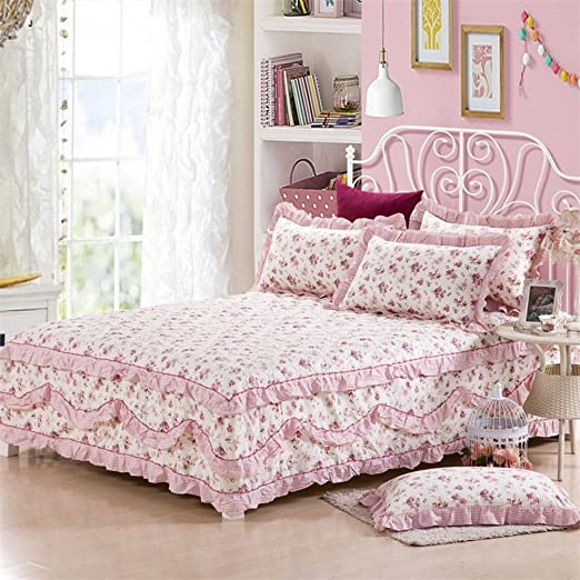 Falda de cama De algodón entero simple piel vestido de cama sola ...