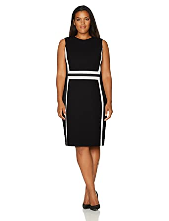 Calvin Klein Womens Plus Size Sleeveless Color Block Sheath Dress