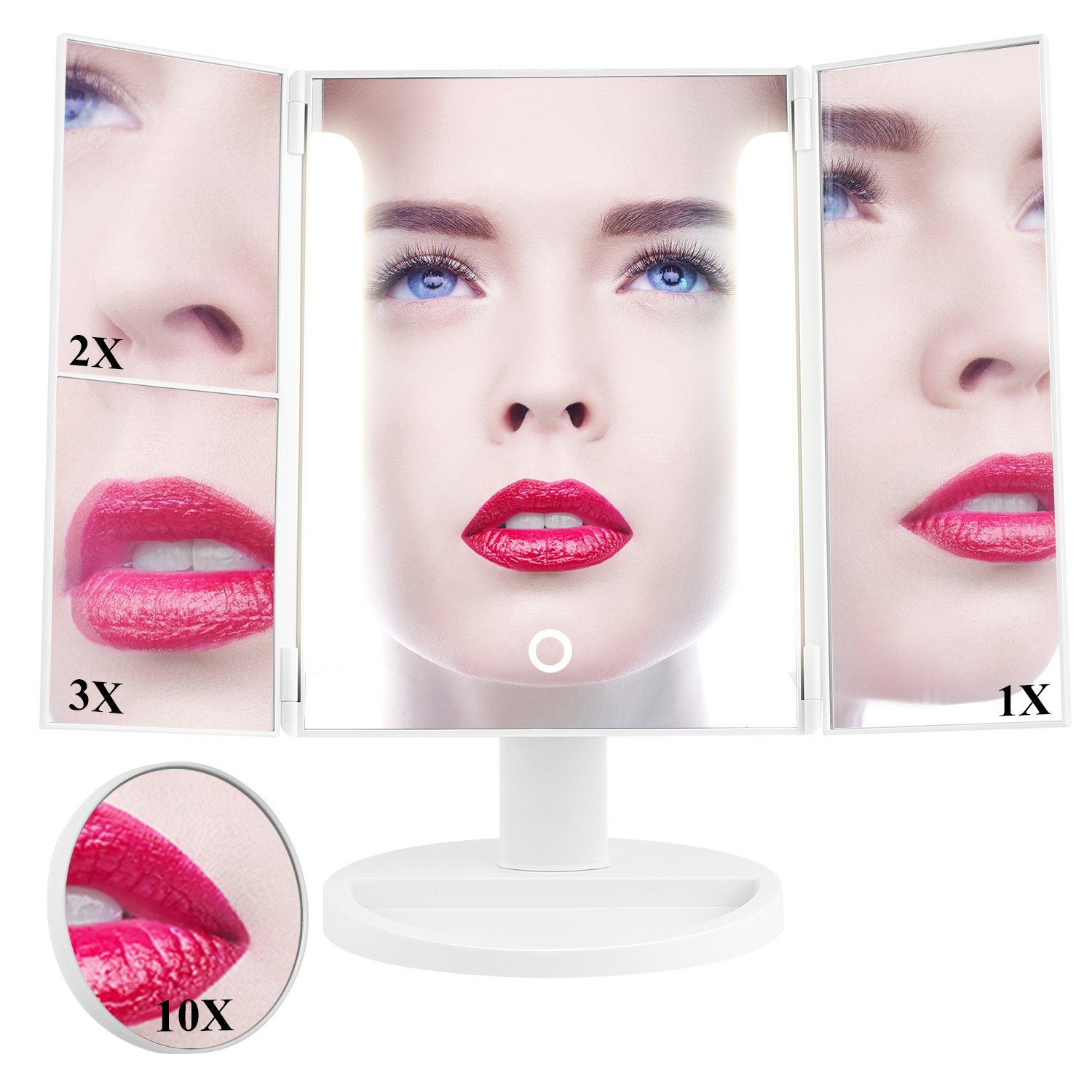 HAIRBY Vanity Mirror with Lights, Lighted Cosmetic Makeup Mirror with 36 LED Lights, Touch Screen, 1X/2X/3X/10X Magnification,180° Adjustable Rotation USB Charging / 4 PCS AA Batteries