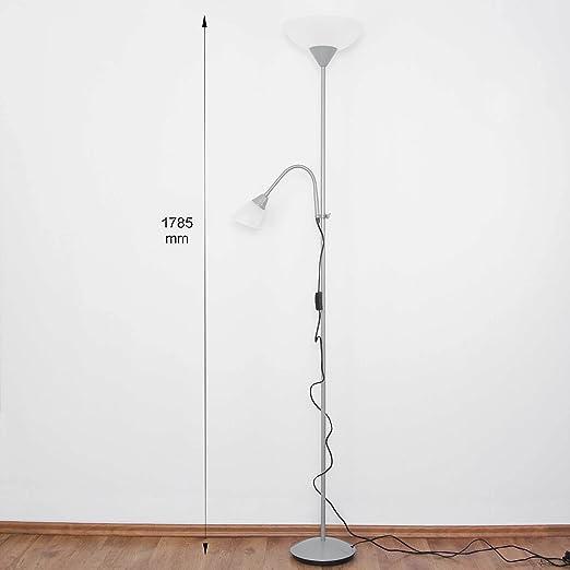 Sencilla Lámpara de pie en Color titanio Blanco 1x E27 hasta ...